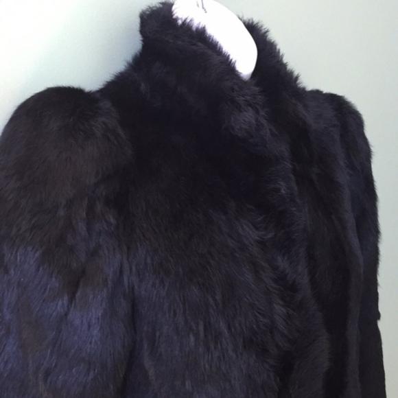 Jackets & Blazers - Black Rabbit Fur Belted Full Length Coat